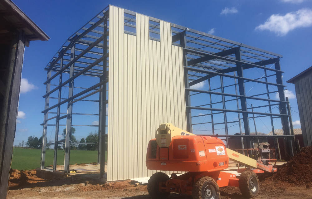 building frame with siding